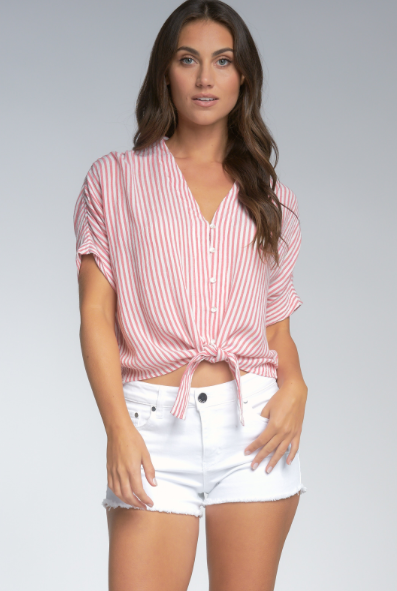 Stripe V-Neck Tied Top - Red
