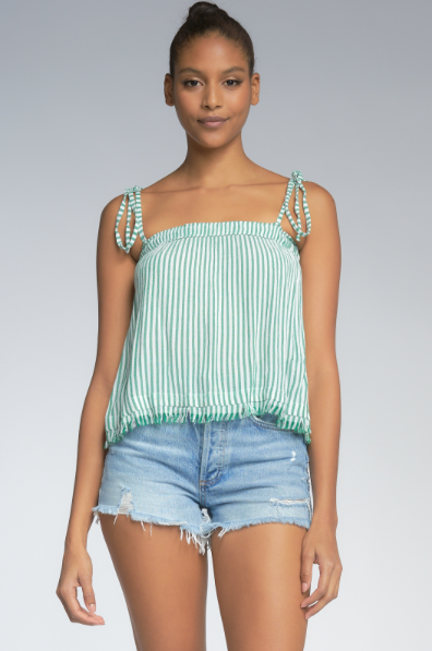 Stripe Top with Ties - Green