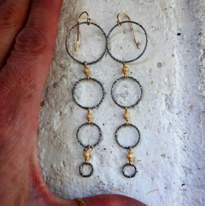 Oxidized Circle Earrings
