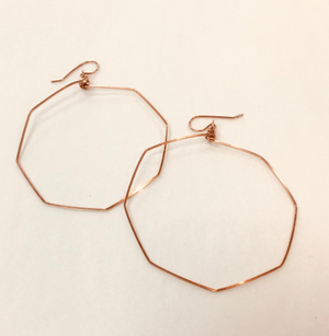 Rose Gold Octagon Earrings