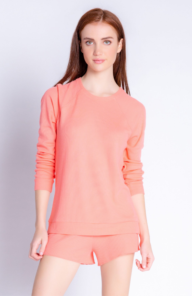 Textured Basic Long Sleeve Scoop In Coral