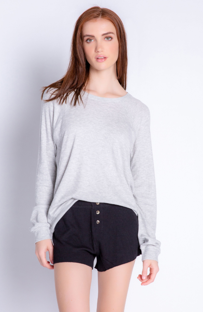 Textured Basic Long Sleeve Scoop In Heather Grey