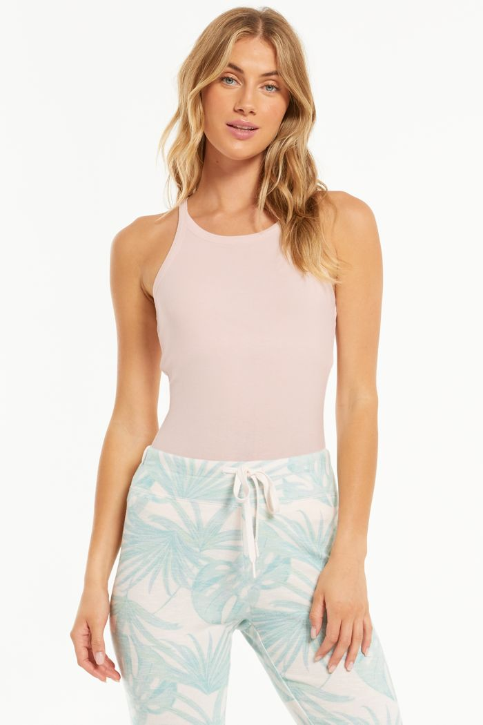 Layer Up Rib Tank In Pink Mist