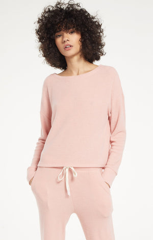 Leila Ribbed Long Sleeve in Blush