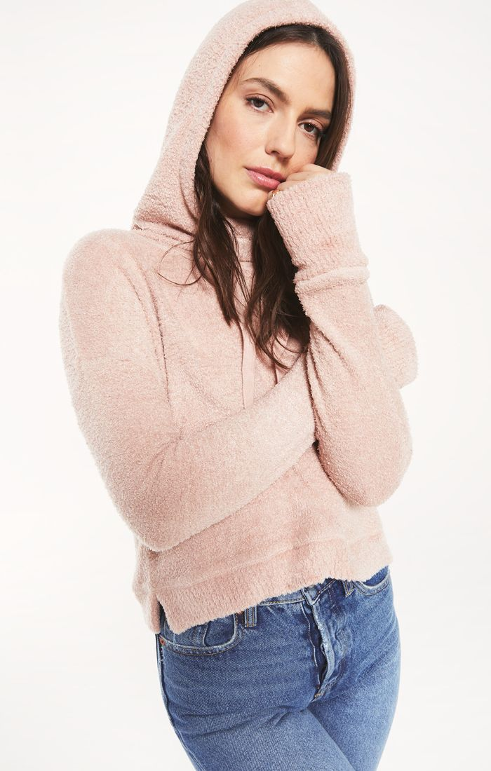 Kacey Feather Hoodie in Silver Pink