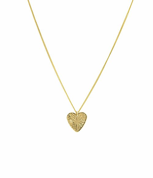 Small Sunburst Heart Necklace Gold Filled