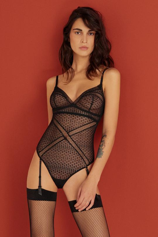 Harper Soft Cup Bodysuit with Removable Suspenders