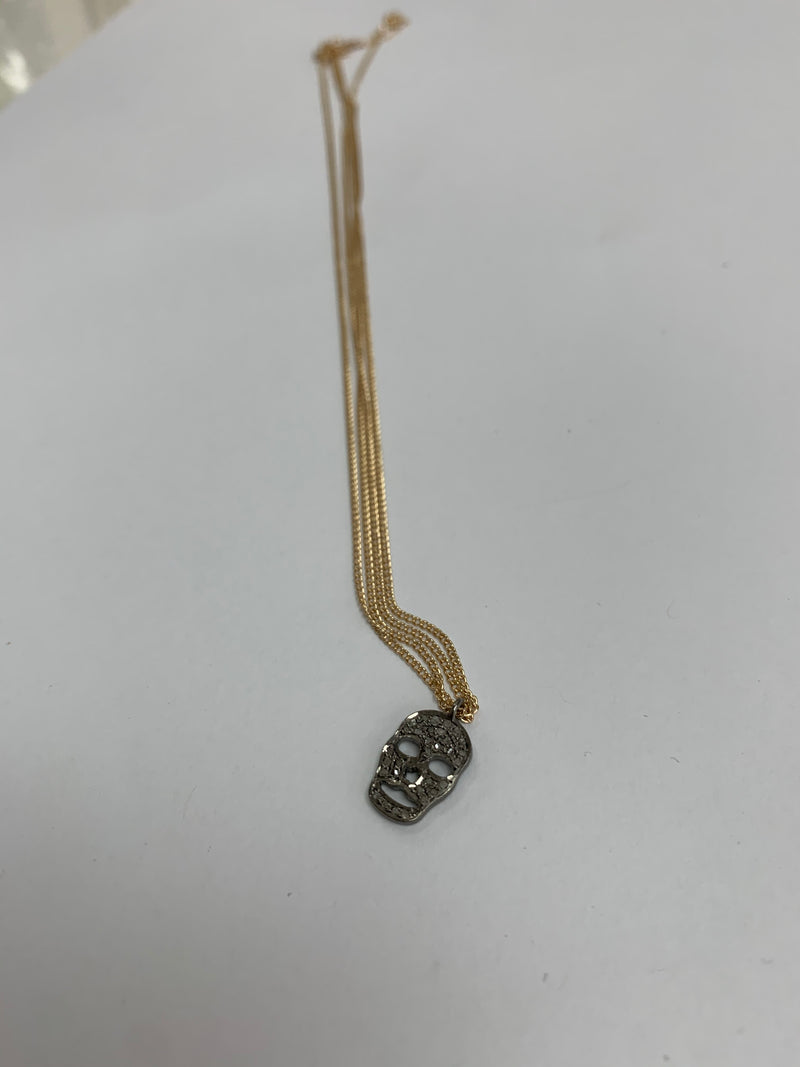 "18"" gold filled necklace with diamond skull charm"