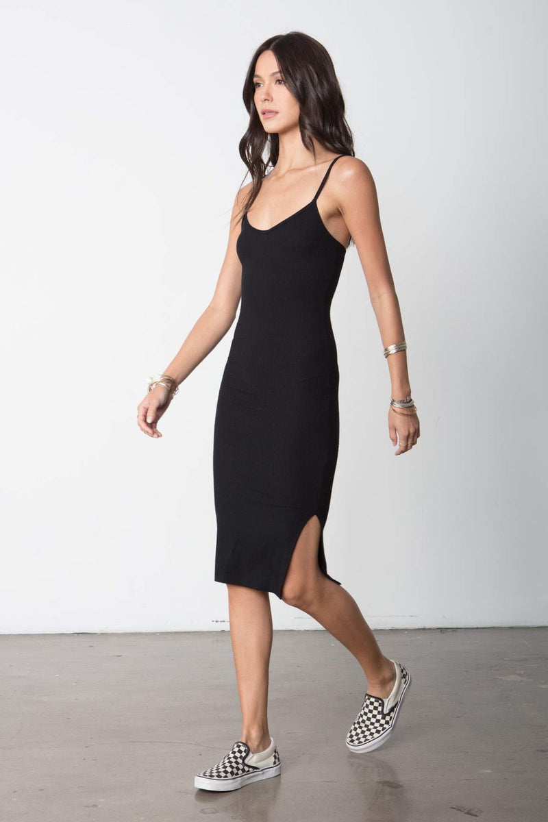 So simple rib tank dress in black