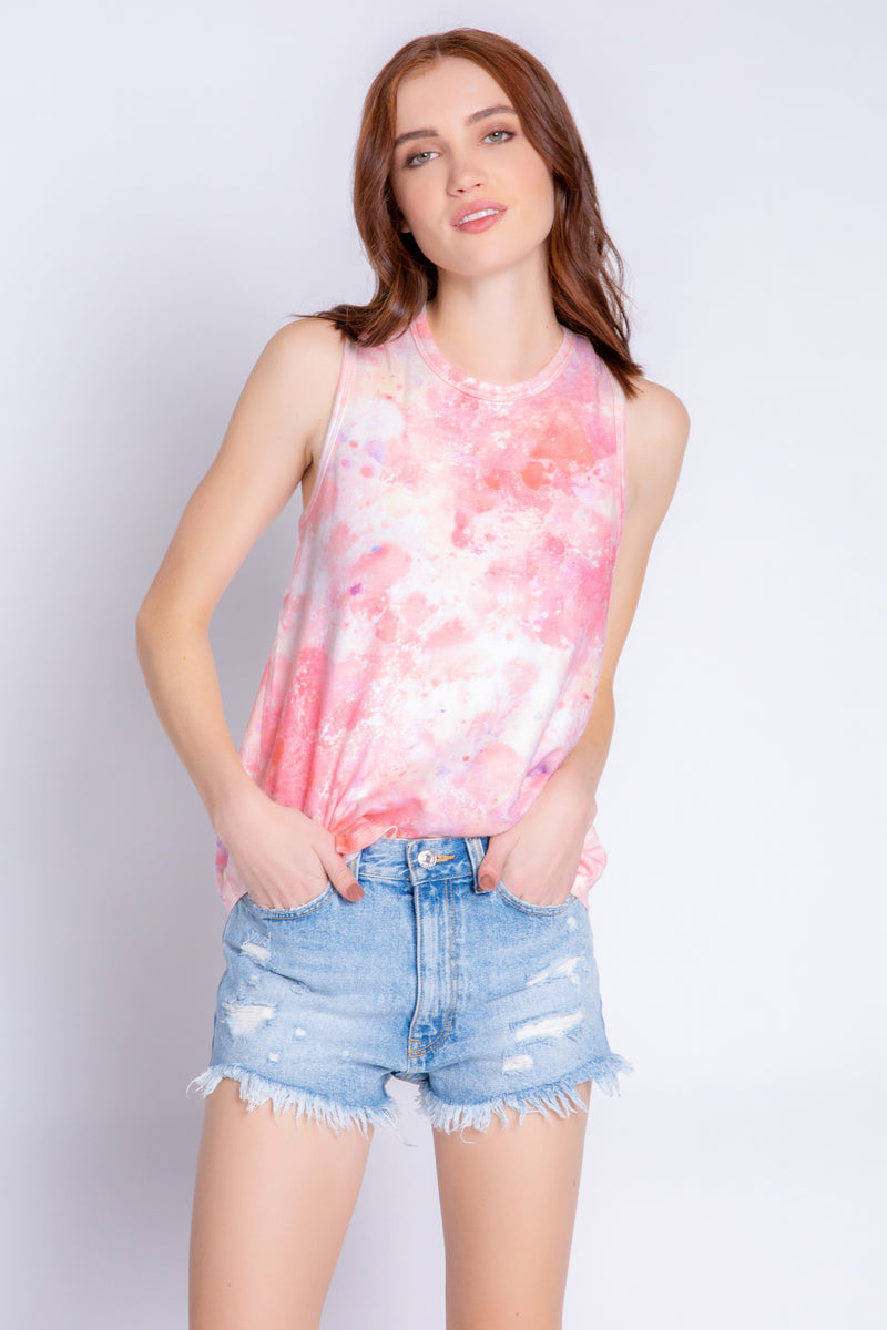 Melting crayons tank in coral wash