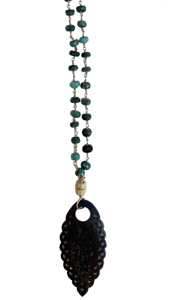 "36"" Emerald beaded necklace with hand carved pendant"