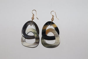 Earthy luxe buffalo earring double drop