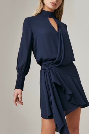 Drape front turtle neck mini dress