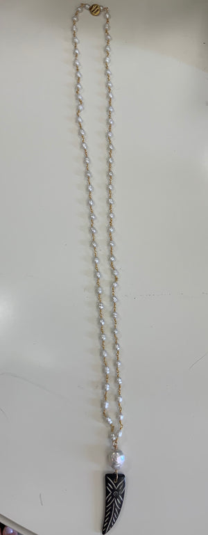 "36"" pearl necklace with pendant"