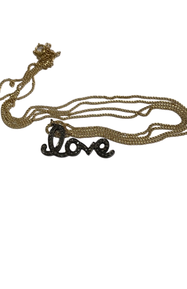 "18"" gold filled chain with diamond Love charm"