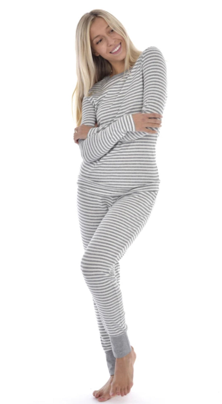 Lisa long sleeve top in grey stripe