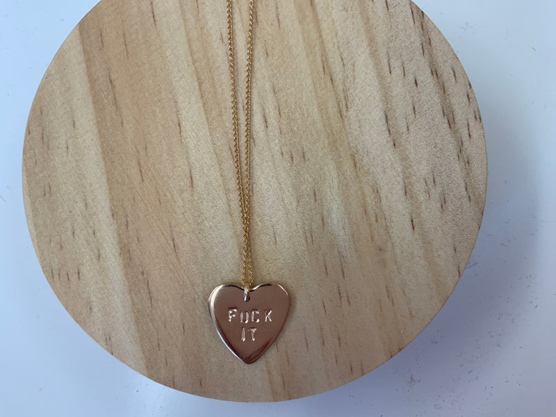 Small heart f*uck it necklace