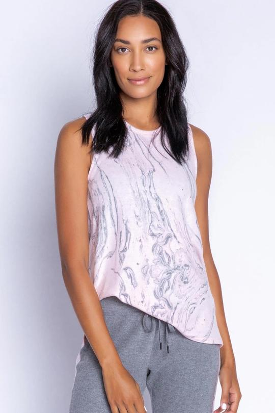PJ Salvage Peachy Fabric Tank in Pink Marble