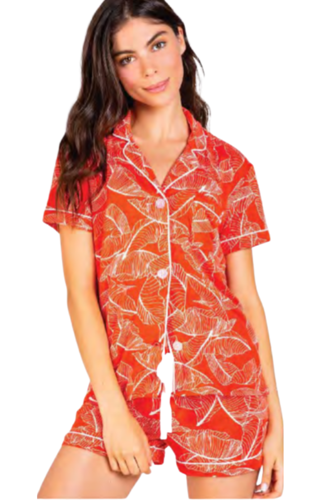 Leaf Dreams Short Sleeve/Short PJ Set in Fire Orange