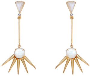 Pearl & Moonstone Spike Earrings