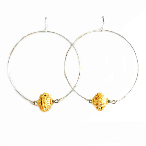 Tibetan Bead Hoop Earrings