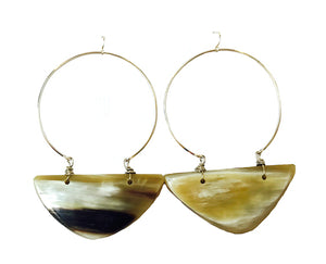 Natural Horn Hoop Earrings
