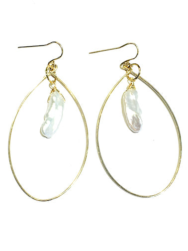 Biwa Pearl Loop Earrings