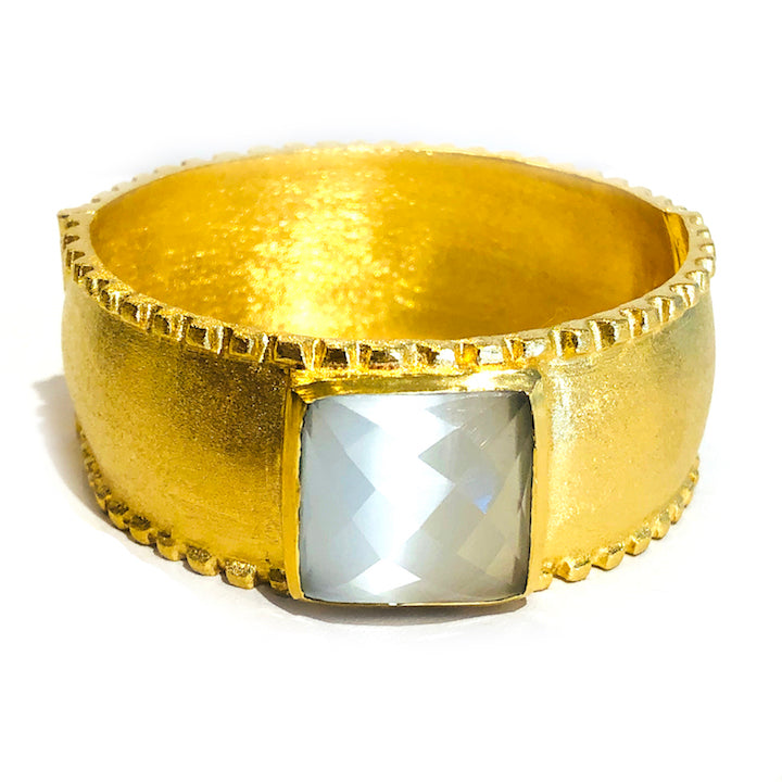 Brushed Gold Hinge Bangle - Ice Pearl