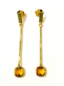 Brazilian Gold Gemstone Earrings - Citrine