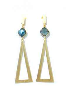 Brazilian Gold Triangle Earrings - Labradorite