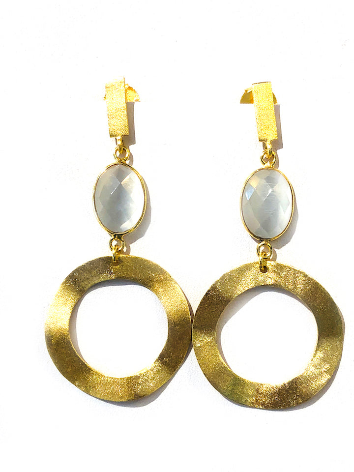 Brushed Gold Circle Earrings - Ice Pearl