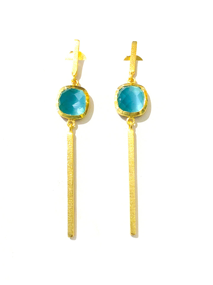 Brushed Gold Bar Earrings - Mint