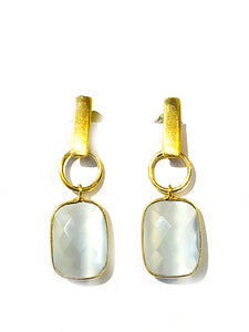 Faceted Gemstone Earrings - Ice Pearl