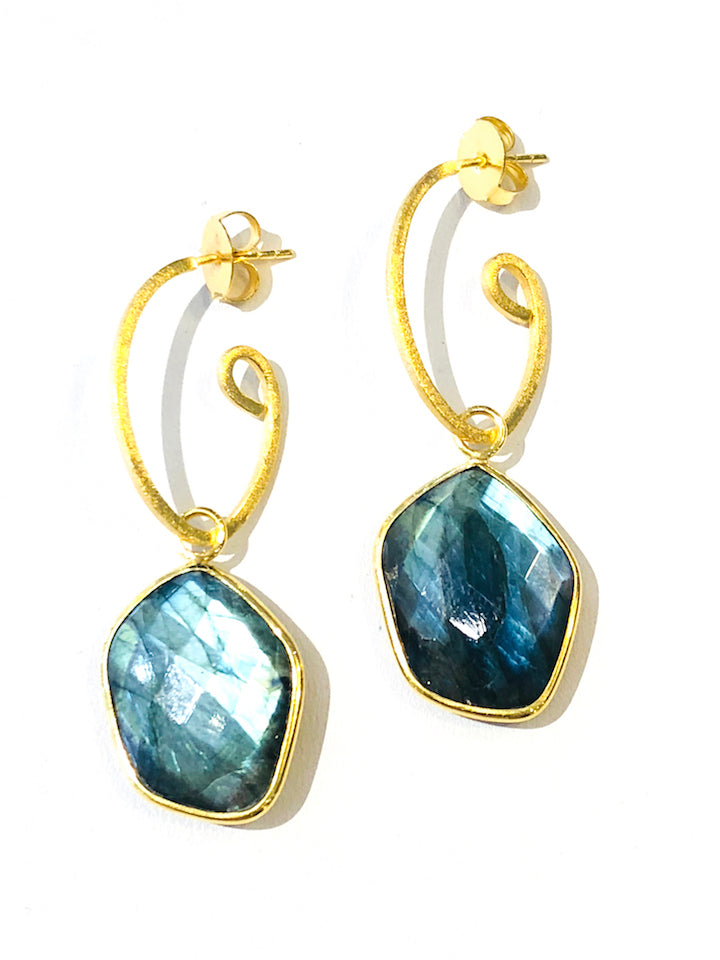 "2.5"" Gemstone Earrings - Labradorite"