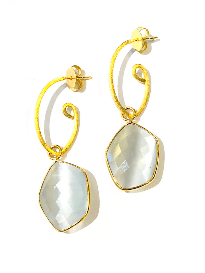 "2.5"" Gemstone Earrings - Ice Pearl"