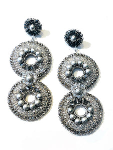 Crochet Circle Earrings - Silver