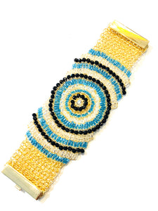 Crochet Beaded Bracelet - Blue / Gold