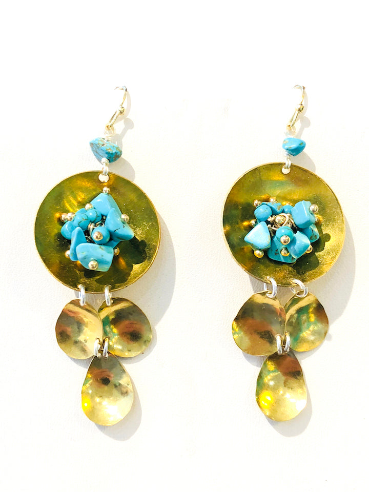 Hammered Turquoise Earrings