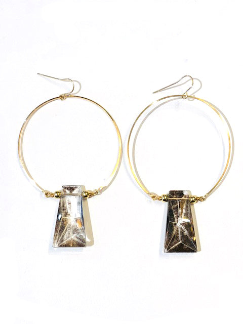 Vintage Glass Hoop Earrings - E446