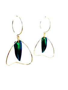 Bent Leaf & Beetle Wing Earrings