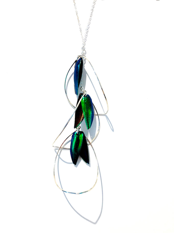 Falling Leaf Necklace with Beetle Wings