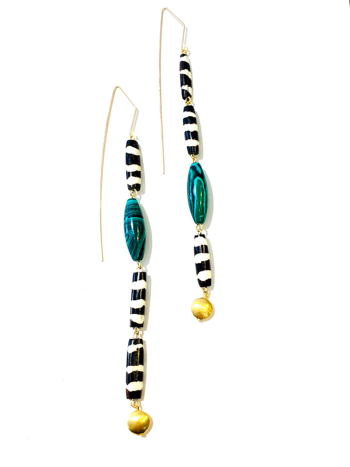 XL Batik Bone & Malachite Earrings