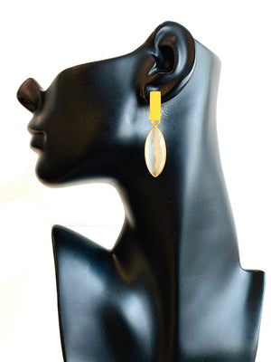 Brazilian Gold Marquis Earrings - Ice Pearl