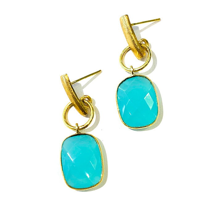 Faceted Gemstone Earrings - Chalcedony
