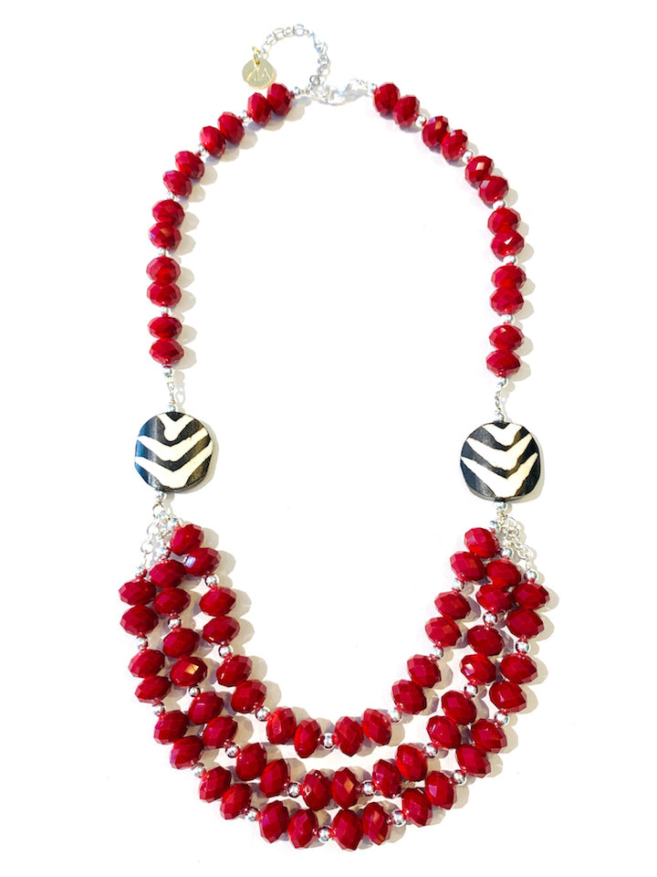 Red Velvet Quartz & Batik Bone Necklace