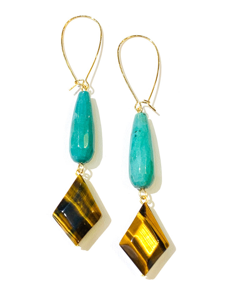Teal Varicite & Tigereye Earrings
