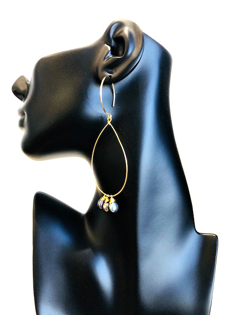 Triple Stone Loop Earrings