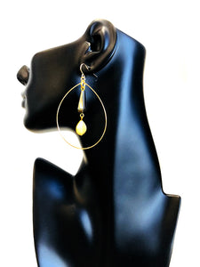 Hematite Wire Loop Earring E54D