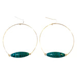 Malachite Horseshoe Earring - Metal Choices