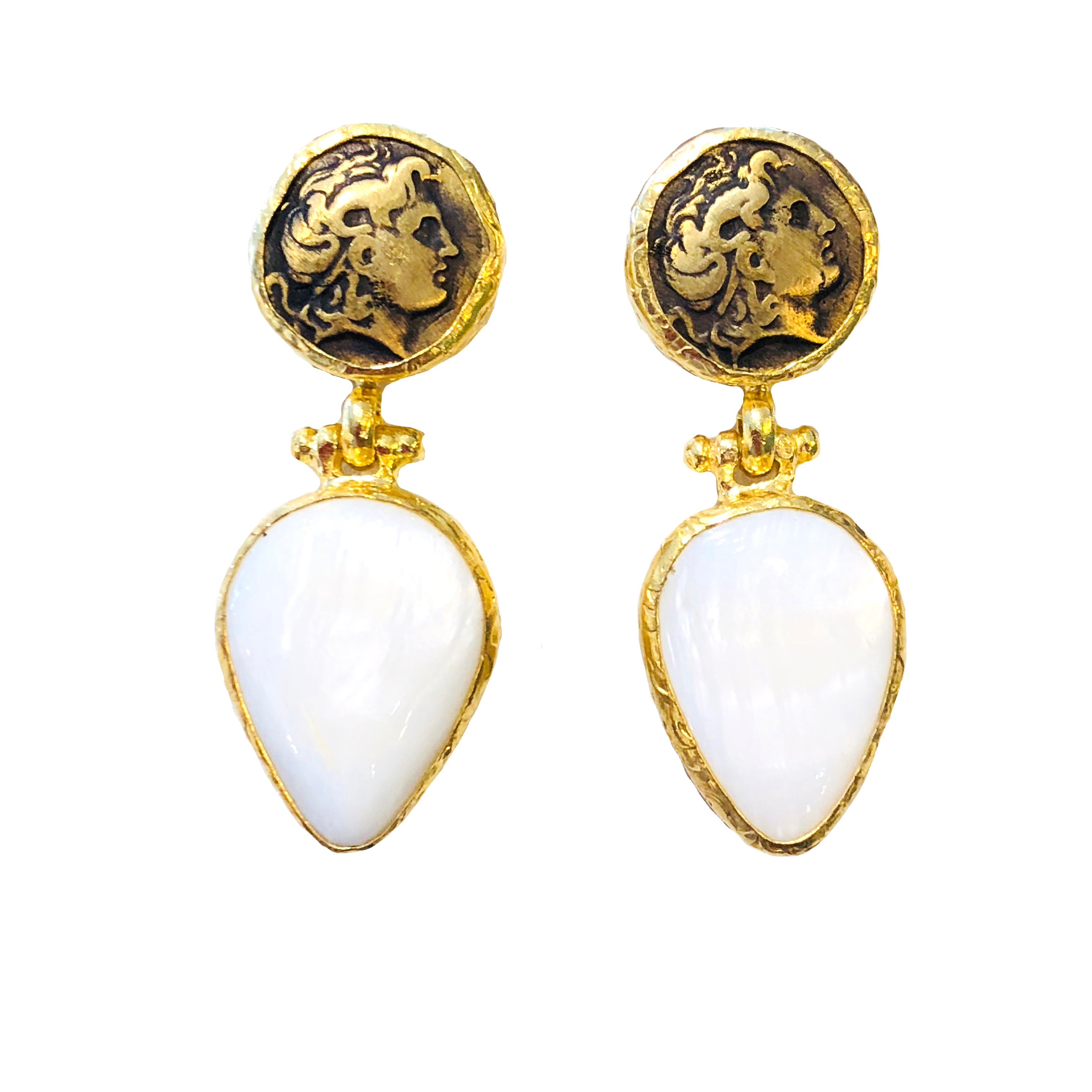Mother of Pearl Romans Coin Earrings E221
